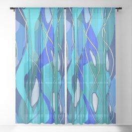 Wavy Blue Sheer Curtain