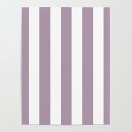 Lilac Luster violet - solid color - white vertical lines pattern Poster