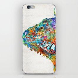 Colorful Iguana Art - One Cool Dude - Sharon Cummings iPhone Skin