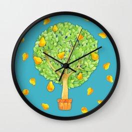 Pear Tree teal Wall Clock