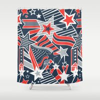 patriotic Shower Curtains featuring Patriotic Pattern by Aron Gelineau