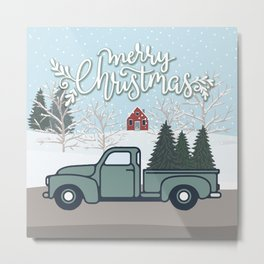 Merry Christmas Vintage Truck with Trees Metal Print