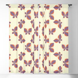 Geometric purple retro orange butterfly vector pattern design. Blackout Curtain