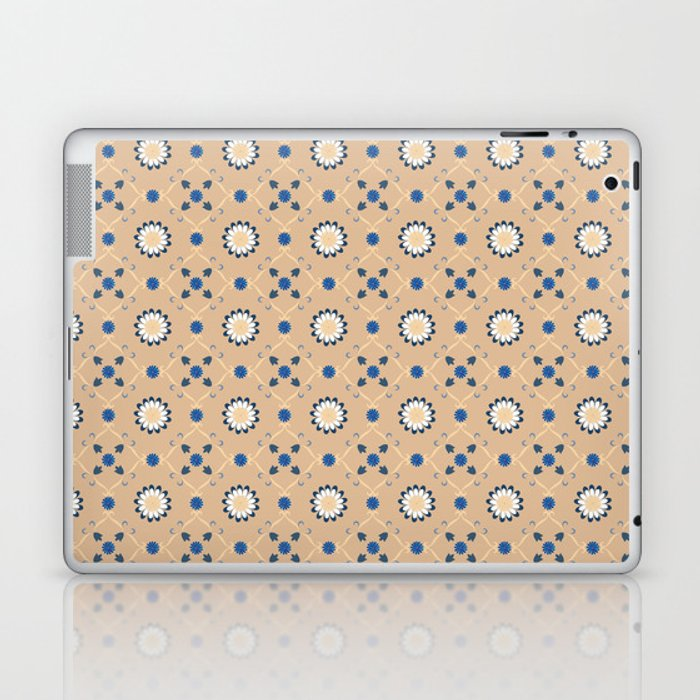 Beige Blue Flowers Pattern Spanish Tiles Bathroom Tile Decal Oriental Decor Moroccan Tiles Laptop Ipad Skin By Lubo