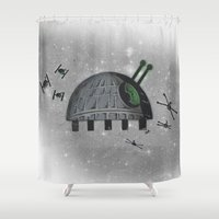 death star Shower Curtains featuring Death Star Bug by TheCore
