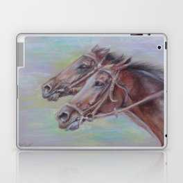 Horse Racing, Portrait of two brown horses, Pastel drawing on gray background Laptop & iPad Skin