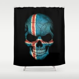Dark Skull with Flag of Iceland Shower Curtain