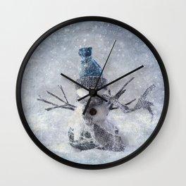 Cute snowman frozen freeze Wall Clock