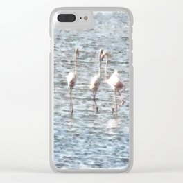 A Flamboyant Pat Of Flamingos Clear iPhone Case