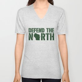 Defend the North Green Bay Yellow and Green Wisconsin Unisex V-Neck