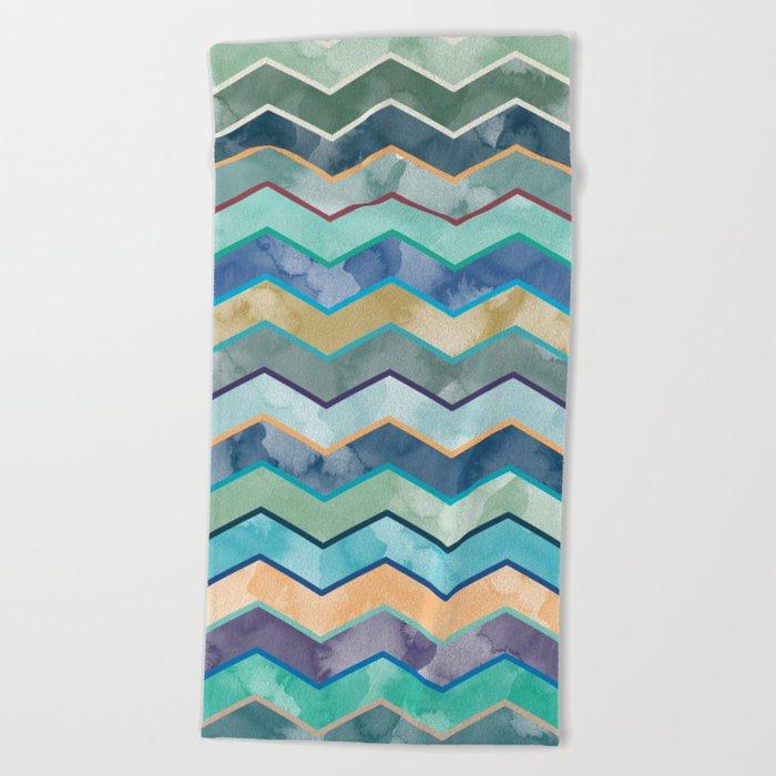 Watercolor Colorful Wave Beach Towel