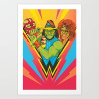wrestling Art Prints featuring Classic Wrestling by RJ Artworks