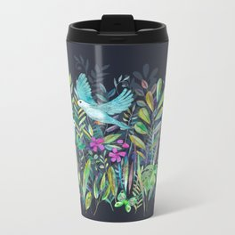 Little Garden Birds in Watercolor Metal Travel Mug