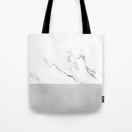 White Marble with Black and Grey Silver Stripe Tote Bag