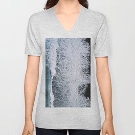 Aerial of a Black Sand Beach with Waves - Oceanscape Unisex V-Neck
