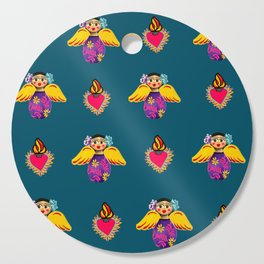 Mexican Angels and Hearts Cerulean Cutting Board