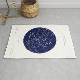 French September Star Map in Deep Navy & Black, Astronomy, Constellation, Celestial Rug