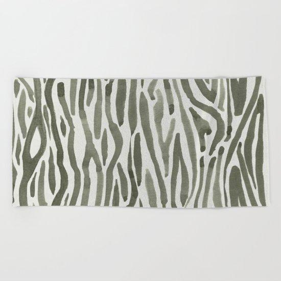 Simply Bonsai Lines in Green Tea and Lunar Gray Beach Towel