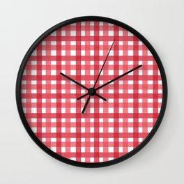 Red Picnic Cloth Pattern Wall Clock