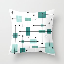Rounded Rectangles Squares Teal 2 Throw Pillow
