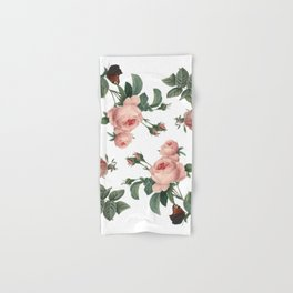 Rose Garden Butterfly Pink on White Hand & Bath Towel