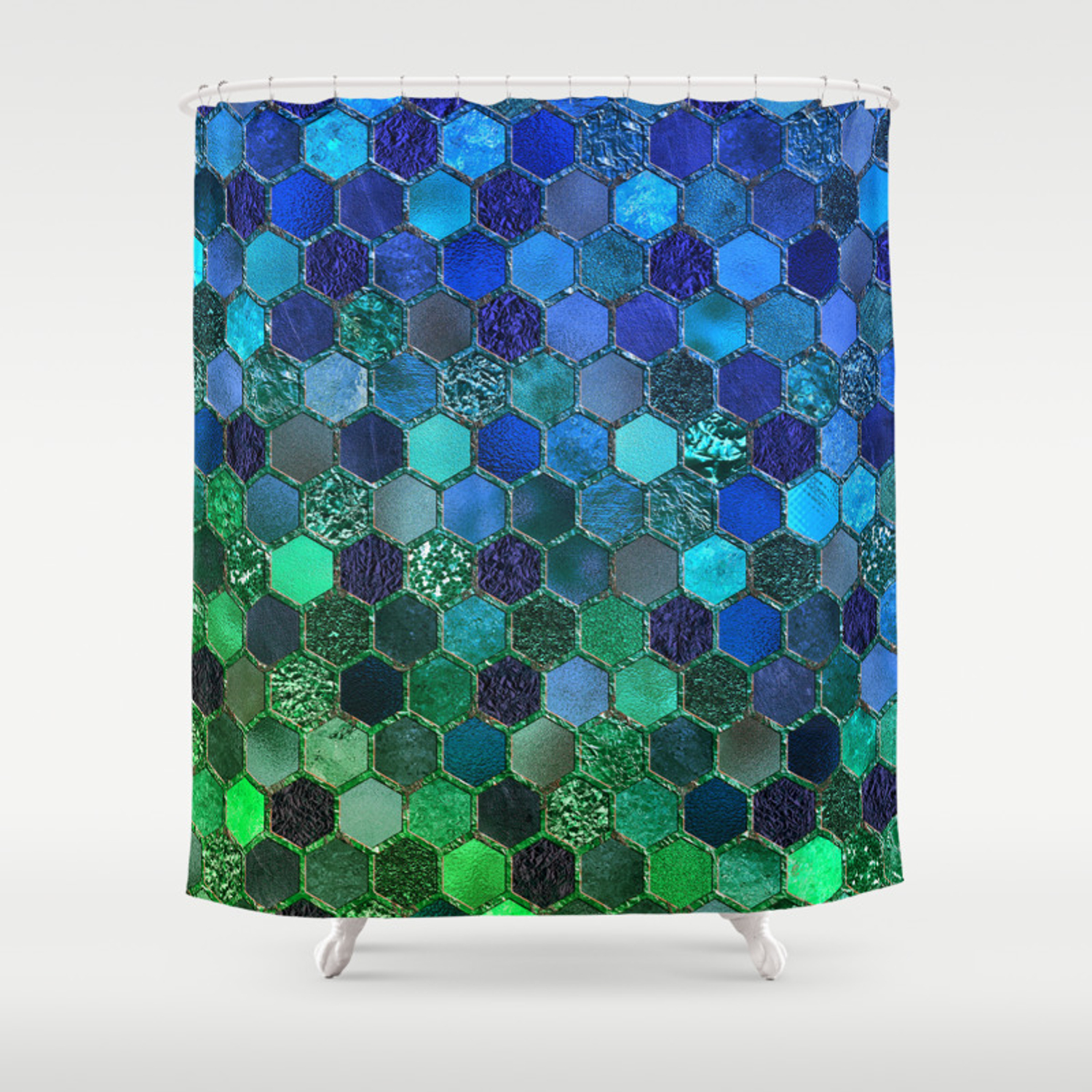 Blue Green Geometric Hexagonal Elegant Luxury Pattern Shower Curtain