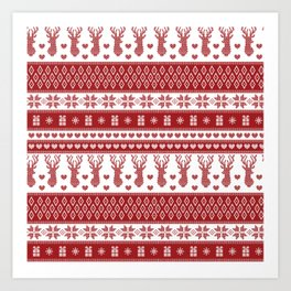 Nordic fair isle christmas pattern red Art Print