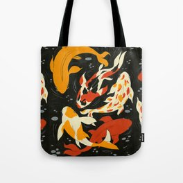 Koi in Black Water Tote Bag