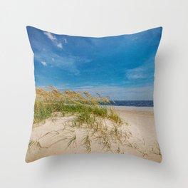 Biloxi Beach with Sea Oats Throw Pillow