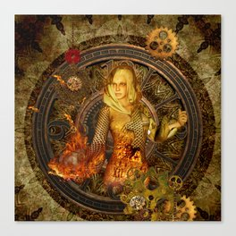 Wonderful steampunk lady Canvas Print