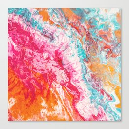 Colorful Movement of Life | Hot Pink, orange & blue Canvas Print