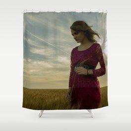 Girl in Wheat Field Shower Curtain