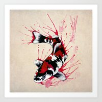 koi fish Art Prints featuring Koi by Puddingshades