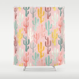 Long Multicolored Cacti Shower Curtain