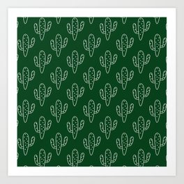 Modern hand painted forest green white cactus floral Art Print