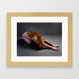 1727-PDJ Nude Redhead Bowing Down Hands Out Framed Art Print