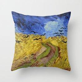 Van Gogh Wheatfield with Crows Throw Pillow