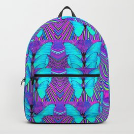 MODERN ART NEON BLUE BUTTERFLIES SURREAL PATTERNS Backpack