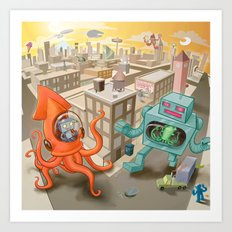 Squid vs Robot Art Print