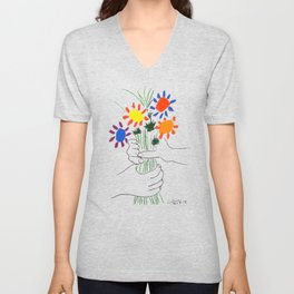 Pablo Picasso Bouquet Of Peace 1958 (Flowers Bouquet With Hands), T Shirt, Artwork Unisex V-Neck