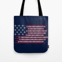 patriots Tote Bags featuring Native Patriots by Steven Toang