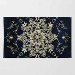 Pale Gold Floral Design On A Blue Textured Background Rug