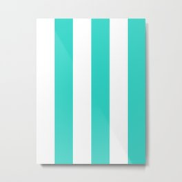 Wide Vertical Stripes - White and Turquoise Metal Print