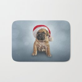 Drawing puppy Cane Corso in red hat of Santa Claus Bath Mat