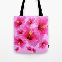 GIRLY TROPICAL PINK HIBISCUS ART Tote Bag