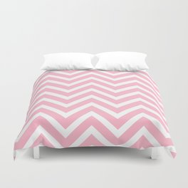 Chevron Stripes : Pink & White Duvet Cover