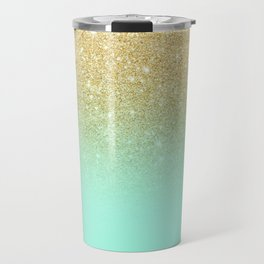 Modern gold ombre mint green block Travel Mug