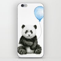 Panda Baby Animal with Blue Balloon iPhone & iPod Skin