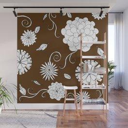 Sweet daisies on chocolate brown Wall Mural