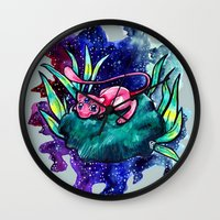 mew Wall Clocks featuring spatial mew tation by HiddenStash Art